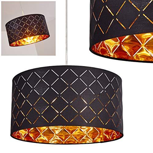 Hängeleuchte Meldal, moderne Pendelleuchte aus Metall/Stoff in Schwarz/Gold, Ø 40 cm, max. Höhe 140 cm, E27 max. 60 Watt, geeignet für LED Leuchtmittel