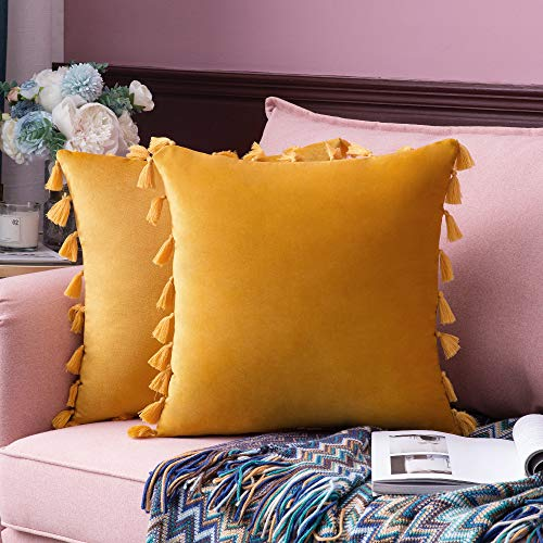 MIULEE Pack of 2 Velvet Soft Solid Decorative Throw Pillow Cover with Tassels Fringe Boho Accent Cushion Case for Couch Sofa Bed 18 x 18 Inch Gold
