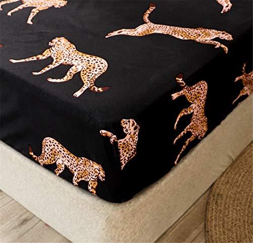 Chickwin Sábana Bajera Ajustable Colchones Decorativa, Nórdico Impresión Microfibra Suave Transpirable Tela - Elástico en el Borde Bolsillo Profundo 30cm (Leopardo Dorado,90x200+30cm)