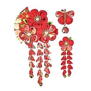 JZOON 髪飾り3点セット 成人式 七五三 浴衣 袴 着物 振袖 和装 つまみ細工 花 卒業式 結婚式 鈴付き 手作り 赤B 4色全12選