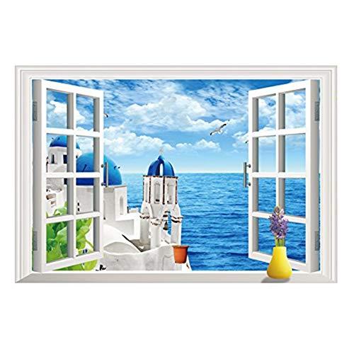 Winhappyhome Faux Window Mer Villa Natural ScèNe 3D Autocollant Mural Amovible Home Decor Salon Chambre Bureau DéCoration Stickers