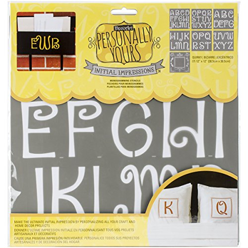 """Deco Art Initial Impressions Stencil, 12"""" by 12"""", Quirky"""