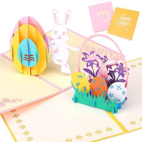 HOWAF 2 Pack Buona Pasqua Carte, Uova di Pasqua oniglietto Fiori 3D Pop Up Biglietto di Auguri con Buste per Pasqua