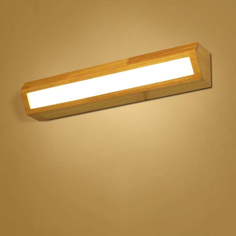 HOHE SHOP- Nordic LED Massivholz Wandleuchte Treppenhaus Bad Spiegel vorne Lampe Schlafzimmer Nachttischlampe (gre   55cm)