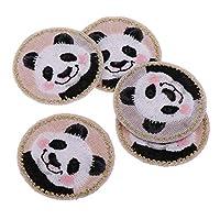 かわいい パッチ アップリケ 動物柄 バッジ 布ステッカー 刺繍 アイロンオン 装飾 5個 全3種 - パンダ