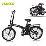 BRIGHT GG NAKTO 20'' Folding Electric Bicycle Foldable Ebike City Electric Bike with 250w Rear Hub Motor and 36V 10AH Lithium Battery,Lock and Charger