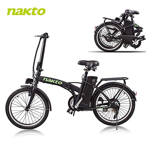 NAKTO 20'' Folding Electric Bicycle Foldable Ebike City Electric Bike with 250w Rear Hub Motor and 36V 10AH Lithium Battery,Lock and Charger