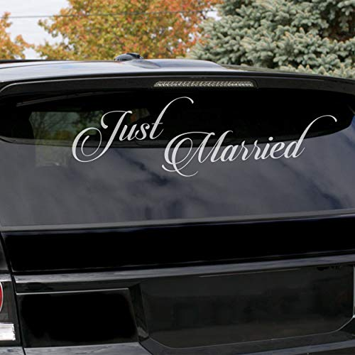 Slaf Ltd. (50x17 cm) Just Married Vinyl Car Decal Design/Wedding Cling Banner Decoration Quote Sticker/Decals Back Car Window Mirror + Free Random Decal Gift