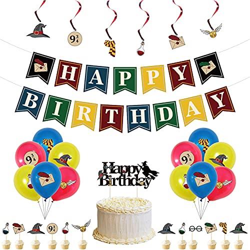 CYSJ Cumpleaños Decoracion, 32pcs Kit de Decoraciones de Cumpleaños, Decoracion de Fiesta Mago, Globos de Látex Pancarta de Fiesta, Estandarte de Cumpleaños