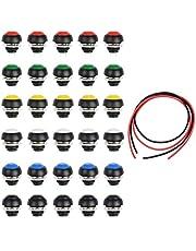 Youmile 30 STKS Waterdichte Momentary Drukknop Schakelaar PBS-33B 12mm Spst 2 PIN ON/OFF 6 Kleur Mini Schakelaar Voor DIY + 24AWG Draad