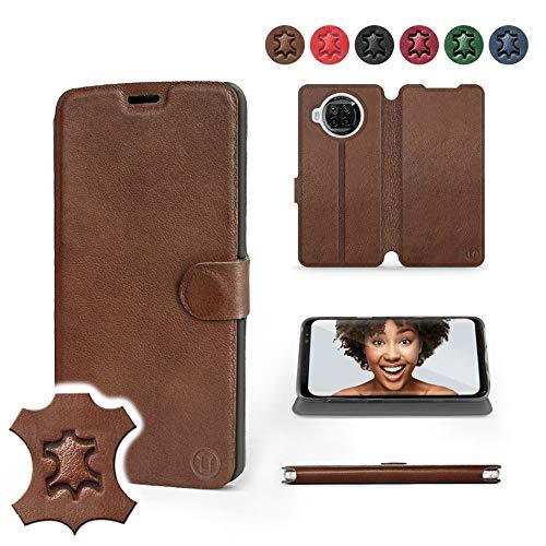 Mobiwear | Echt Lederhülle | Kompatibel mit Xiaomi Mi 10T Lite, Made in EU handyhülle, Slim Leather Hülle, Premium Flip Schutzhülle, Transparent TPU Silicon, Book Style, Tasche - Braunes Leder