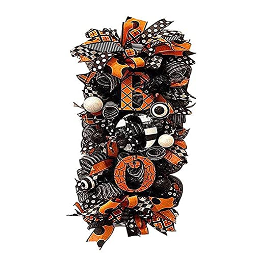 WFCQNB Otoño Guirnalda delantera Halloween Caída de halloween Araña, malla y cintas Boo Swag Guirnalda Decoración de vacaciones al aire libre fiesta de decoración Ornamentos colgantes Guirnaldas, coro