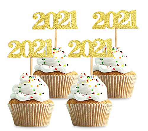 40 Pcs Glitter New Year Cupcake Toppers 2020 Gold Cupcake topper Cheers to 2020 Cake Picks for New Years Eve Party Decoration (2020 Gold 40pcs)