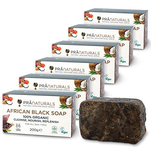 PraNaturals Organisch Afrikanische Schwarze Seife 6 x 200g, Vegan Kosmetik, Für Alle Hauttypen, Handgefertigt Im Tropischen Ghana, Natürliche Behandlung für die Haut und Gesicht