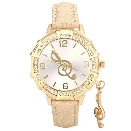 Doingshop Damenuhr Mode Kreative Quarz Handgelenk Musik Symbol Stift Strass Anhänger Urlaub Geschenk Uhr