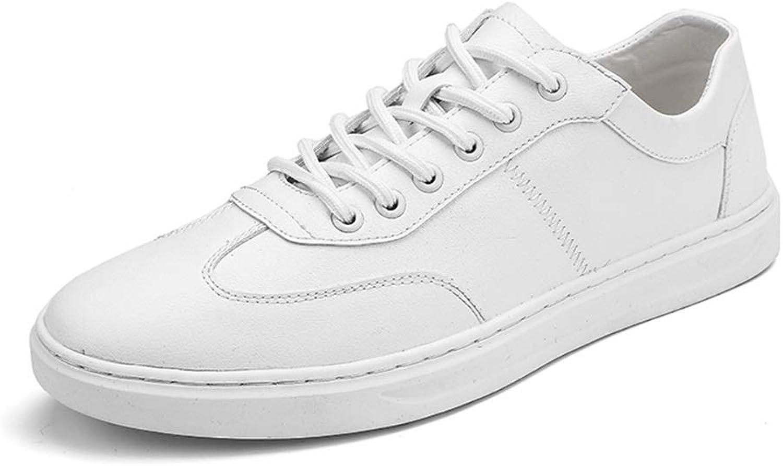 Sportsskor för sport - och sportskor för män, Lace Up Up Up PU läder Athletic skor for män (konventionella alternativ) ljusljus gående skor (färg  vit, Storlek  8 D (M) US)  det senaste