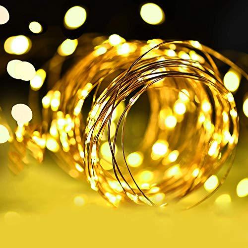 Stringa Luci LED a Batteria [Bianco caldo], Catena Luminosa 5m 50 LED con Filo Rame Ghirlanda Luminosa Lucine LED Decorative per Camere da Letto Giardino Casa Feste Natale Matrimoni