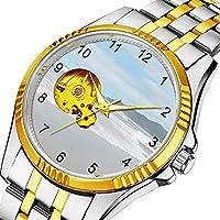 男性の人格ダイヤル&クリアウィンドウのためのカジュアルメンズ自動機械式時計高級ブランドカジュアルスポーツウォッチ 065. ビーチをテーマにした腕時計