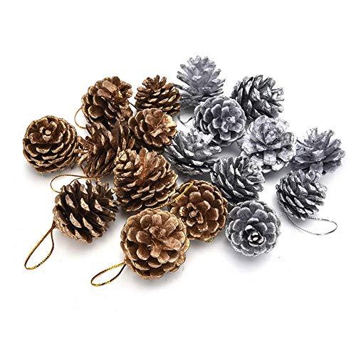 Decorazioni Natalizie 18 Pezzi Pigne di Natale, pigne Naturali Ornamenti per Alberi di Natale con Corde Pigna Decorativa per Natale Autunno Festa del Ringraziamento Accesso Artigianale