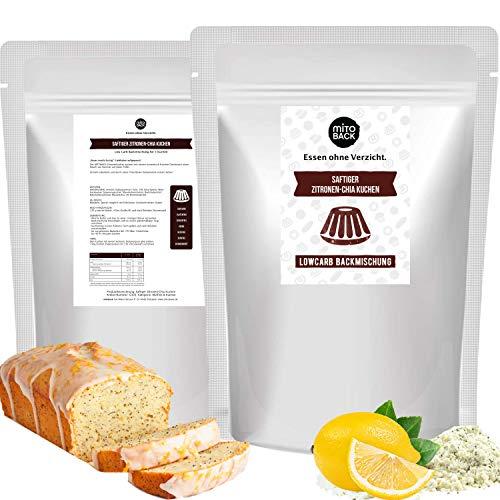 MITOBACK - Saftiger Zitronen-Chia Kuchen Backmischung 240 g, Zuckerfreie Zitronenkuchen Fertigmischung für Diabetiker: Low Carb, Glutenfrei, Hefefrei, Sojafrei, ohne Kohlenhydrate und Zucker