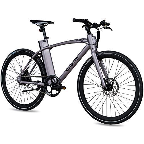 CHRISSON 28 Zoll E-Bike City Bike eOCTANT grau matt - Elektrofahrrad Urban Bike mit Aikema Hinterrad -Nabenmotor 250W, 36V, 40 Nm, Pedelec für Damen und Herren, praktisches E-City Bike