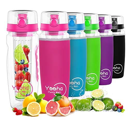 YOOHA trinkflasche mit früchtebehälter 1L, auslaufsicher, Klappdeckel, Doppelgriff, BPA-freie Infusionssportflasche, mit einem nützlichen Fruchtschneider. (Flasche, Rose)