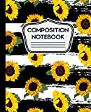 Composition Notebook: Sunflowers Pattern on Black and White Striped Background - 7.5' X 9.25' - Wide Ruled 110 Pages