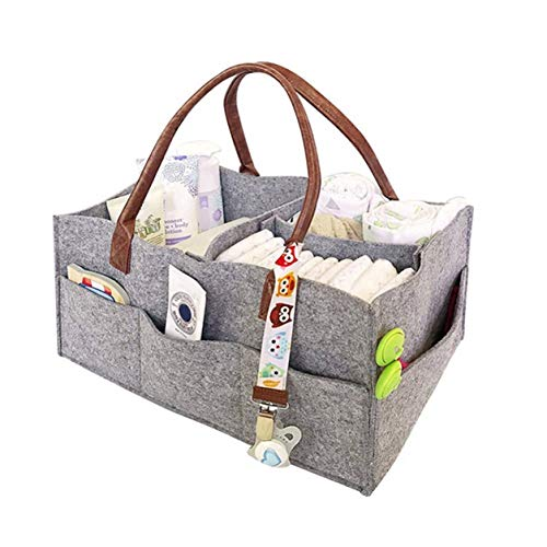 StrongAn Bolsa de momia de tela no tejida portátil Vejiga Bolsa de momia multifuncional Pila de pañales Colección de cosas para bebés Cochecito - Gris