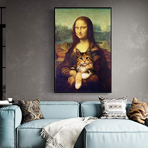 DSGTR Lienzo de póster de exhibición de cómics y animación de Alta definición/Mona Lisa (Mona Lisa) con Gato Divertido/Adecuado para Regalos de niños y Adultos