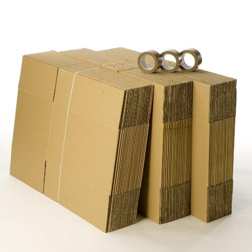 Kit 60 cartons déménagement standard avec 3 rouleaux d'adhésif gratuits