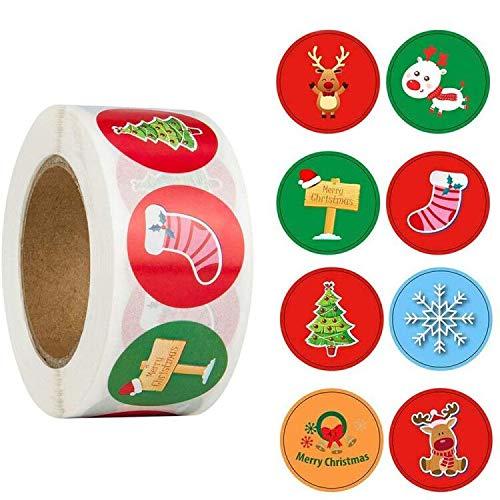 Feliz Navidad pegatinas rollo, 500Pcs Etiqueta Adhesiva Pegatinas redondas, hechas a mano, para Sello Scrapbooking Regalo Bolsa Jabón Recuerdo Boda Fiesta Aniversario Cumpleaños