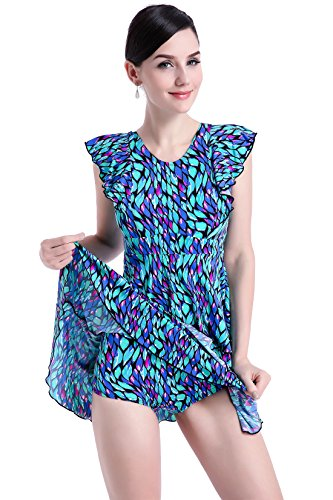Pocketed Swimwear Mastectomy Swimsuit for SiliconeBreast Form Breast Cancer Woman Swimwear658 (M, Bluce)