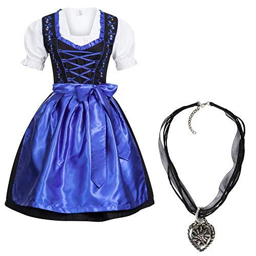 Gaudi-Leathers Dames Duitse Dirndl Jurk Set Kostuum Zwart Donkerblauw met Ketting voor Beierse Oktoberfest Carnaval Halloween