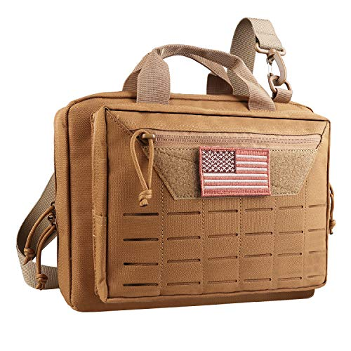 AMYIPO Tactical Pistol Case Hunting Shooting Range Bag Soft Handgun Case Tactical Gun Range Bag Additional Magazine Storage Slots (Tan)