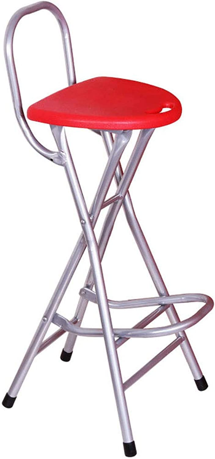 High Stool Folding Chair Folding Bar Stool Steel Frame PP Seat Portable Folding Breakfast Kitchen Counter bar Chair Fishing Stool Two Styles and Two colors
