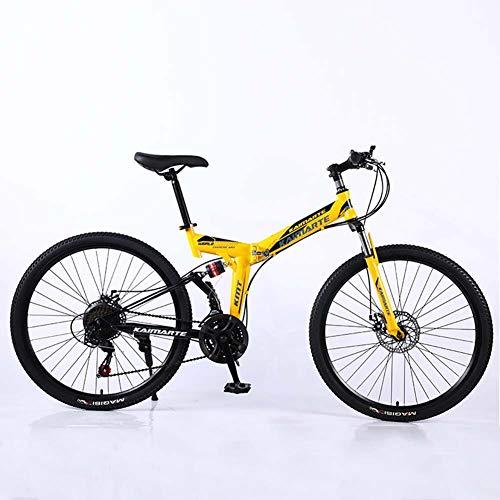 LJXiioo Vélo de Montagne Pliant 24 Pouces Adulte à Vitesse Variable léger Mini Petit vélo de Pays étudiant, Double Frein à Disque, vélos à siège réglable,B
