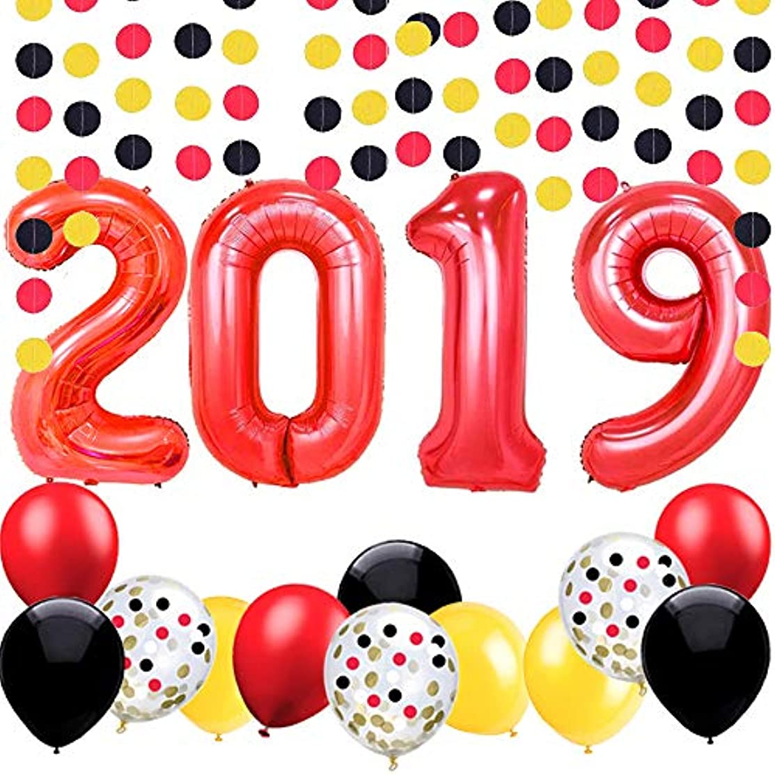 Graduation Balloons-40 Inch Red 2019 Balloons with Yellow Black Red Latex Balloons for,Graduation,Class of 2019 Party Decoration