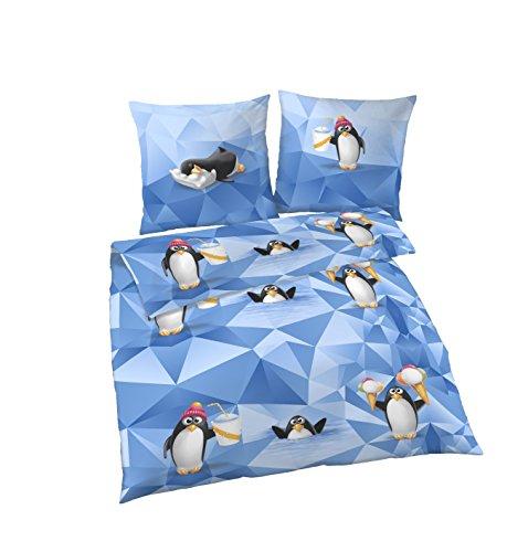 Träumschön Biber Bettwäsche 135x200 2tlg | Pinguin Kinderbettwäsche 135x200 cm & Kissenbezug 80x80 | Flauschige Kinderbettwäsche Winter
