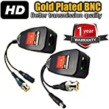 UTP balun hd Ventech cat5 to bnc Video baluns transceiver Passive with Power Connector Compatible with All CCTV Technologies(Analog AHD TVI CVI ntsc pal) 1 Pairs rj45 75 OHN connectors