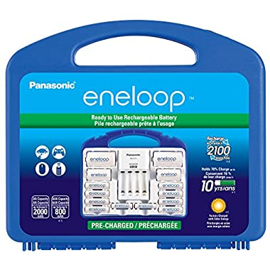 """Panasonic KJ17MCC82A eneloop Power Pack, 8AA, 2AAA, 2 C Adapters, 2 D Adapters, """"Advanced"""" Individual Battery Charger and Plastic Storage Case"""
