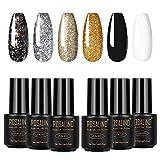 ROSALIND Semipermanente Unghie In Gel UV LED Smalti Colorati Gel Glitter Oro Grigio Bianco Nero 6 Colori 7 ml