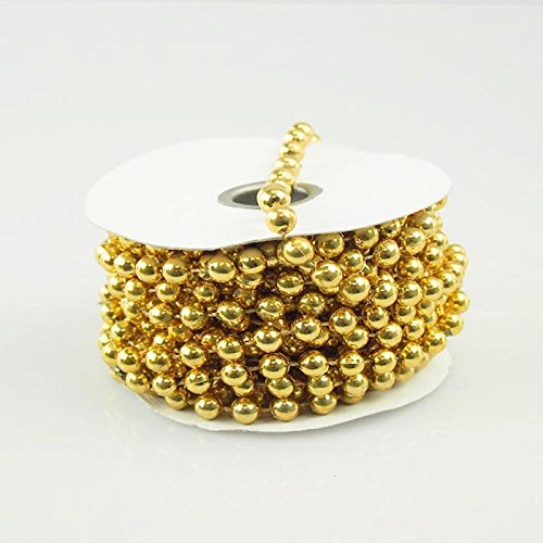 Firefly Imports Homeford MOT Pearls Plastic Beads Garland Ribbon, Gold, 8mm by 8-Yard
