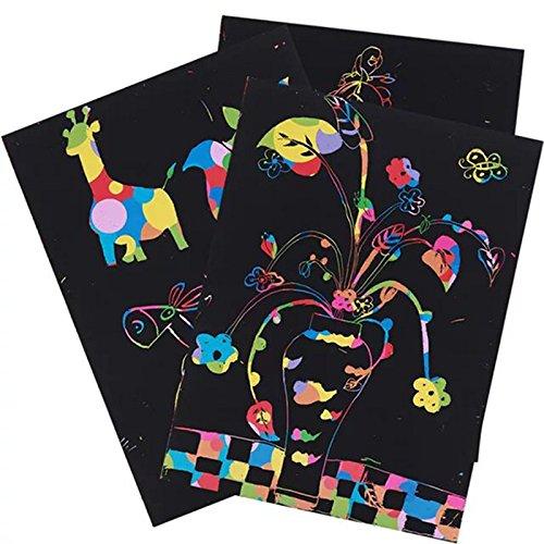 50 papeles de arte para rascar, dibujo de arco iris con 5 varillas de dibujo, 4 plantillas de dibujo, 1 sacapuntas para que los niños se diviertan y creatividad 19.5 * 27 cm A4 paper