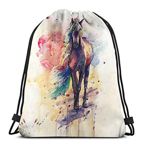 Watercolor Horse Drawstring Backpack Bag Men Women Sport Gym Sackpack For School Hiking Yoga Gym Swimming Travel Beach