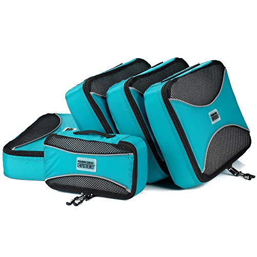 PRO Packing Cubes | 5 Piece Travel Bags Organizer for Luggage | Multi-size Ultralight Travel Cubes | Deluxe Suitcase Organizer Bags Set | Makes Packing Easy - Aqua Blue
