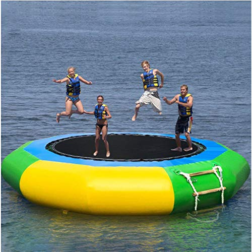 Inflatable Water Trampoline, 10 FT Splash Padded Water Bouncer, Inflatable Bouncer Jump Water Trampoline Bounce Swim Platform, Water Park Play Center for Adult Kids (from US, Multicolour)