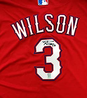 Russell Wilson Autographed Texas Rangers Red Authentic Majestic Cool Base Jersey RW Holo