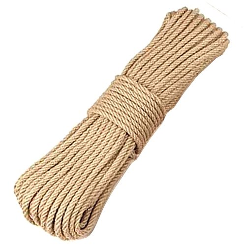 BOELLRUNO Hanfseil Jute Seil Sisalseil Jutekordel Sisal Hanf Tau Twine Seil Natürliche JuteSchnur 4-lagig Jute Kordel Dickes Seil (6mm, 50)