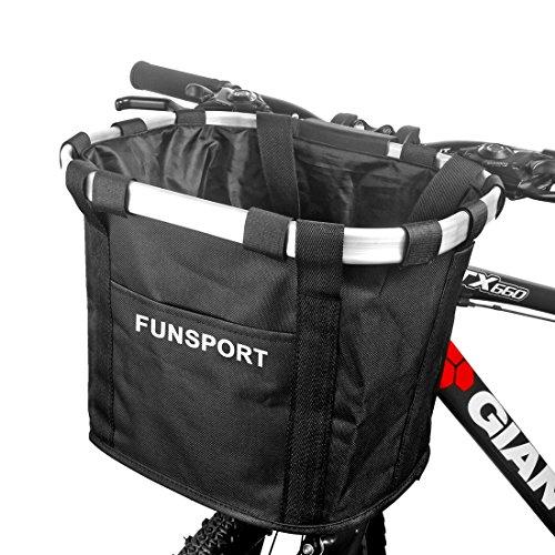 FUNSPORT 自転車カゴ 前 バスケット 折り畳み 脱着 サイクリング バッグ 小径車に最適 (ブラック)