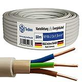 Cable con cubierta cable de corriente eléctrica, fabricación alemana, en calidad probada M&G Techno, gris, grau-NYM-J 3 x 1,5 mm²-50m